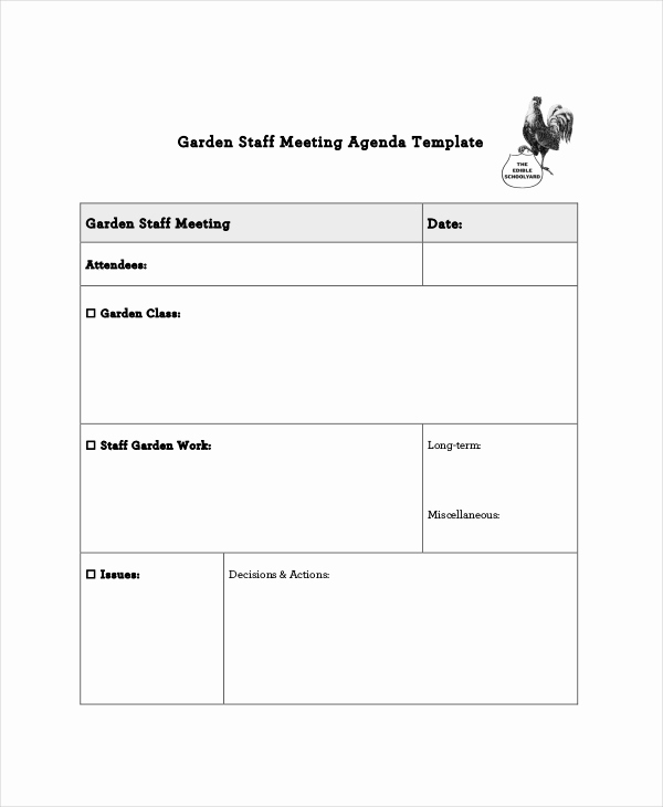Staff Meeting Agenda Template Awesome Staff Meeting Agenda Template – 10 Free Word Pdf