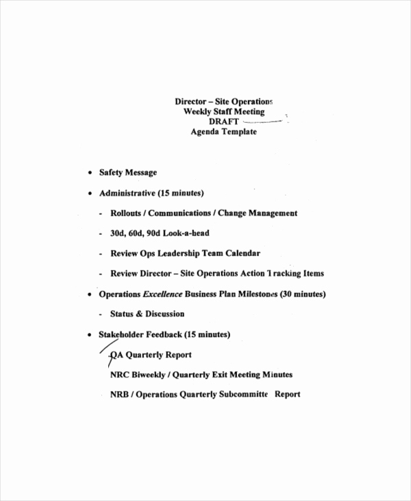 Staff Meeting Agenda Template Best Of Weekly Meeting Agenda Template – 10 Free Word Pdf