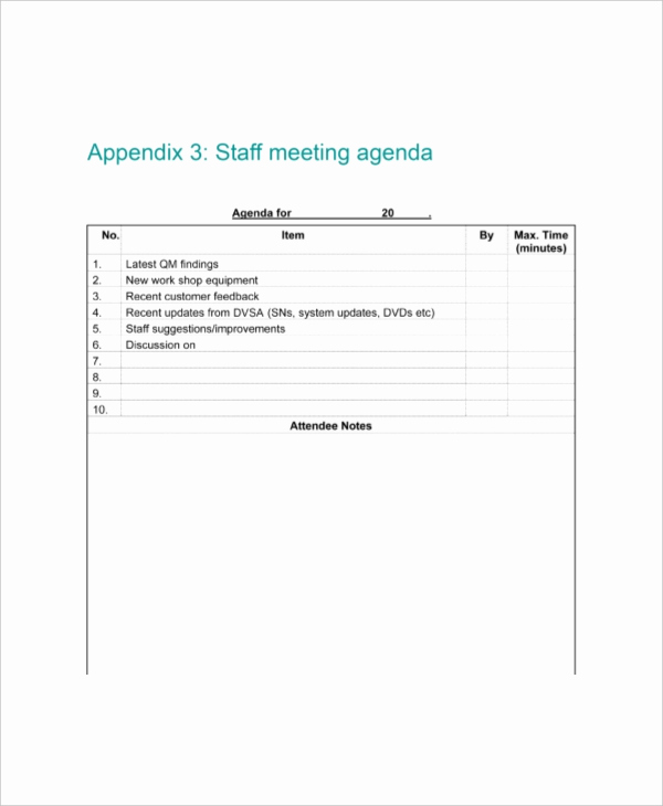 Staff Meeting Agenda Template Inspirational 9 Staff Meeting Agenda Templates – Free Sample Example