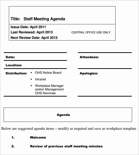 Staff Meeting Agenda Template Unique 8 Meeting Agenda formats Word Excel Pdf Templates