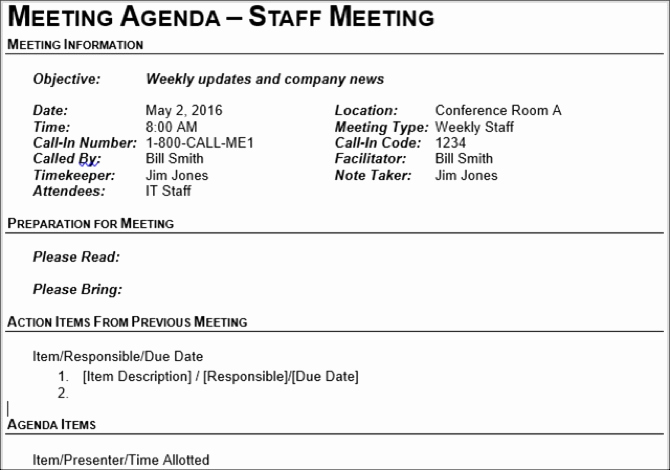 Staff Meetings Agenda Template Awesome 15 Free Meeting Agenda Templates for Microsoft Word