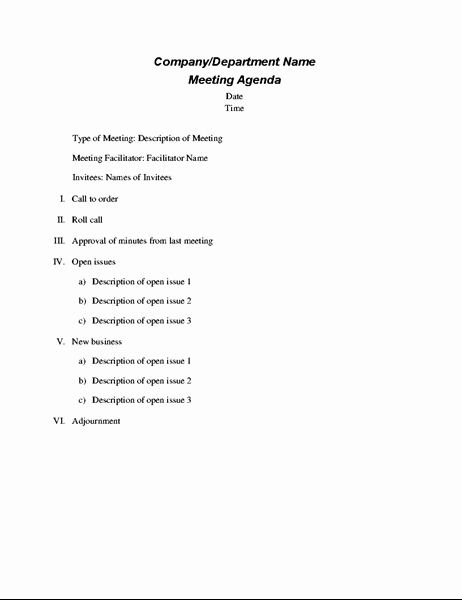 Staff Meetings Agenda Template Awesome formal Meeting Agenda