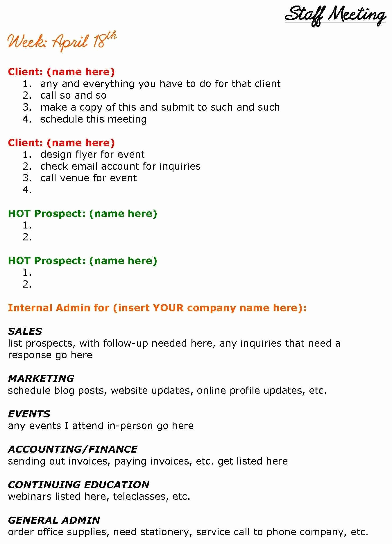 Staff Meetings Agenda Template Fresh solopreneurs Need Staff Meetings too See This Staff
