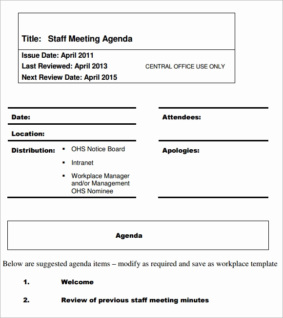 Staff Meetings Agenda Template Lovely 5 Staff Meeting Agenda Samples