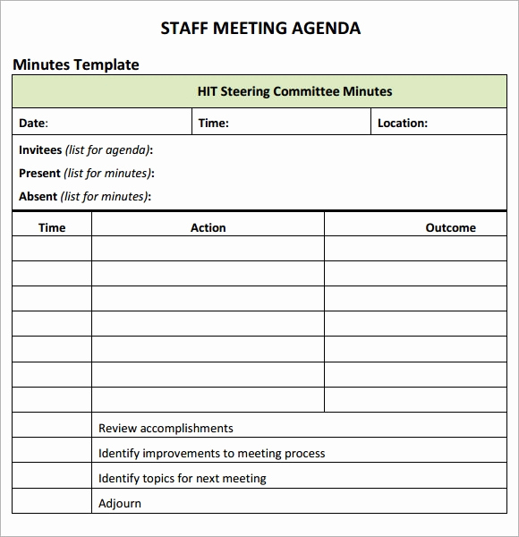 Staff Meetings Agenda Template New Staff Meeting Agenda 7 Free Download for Pdf