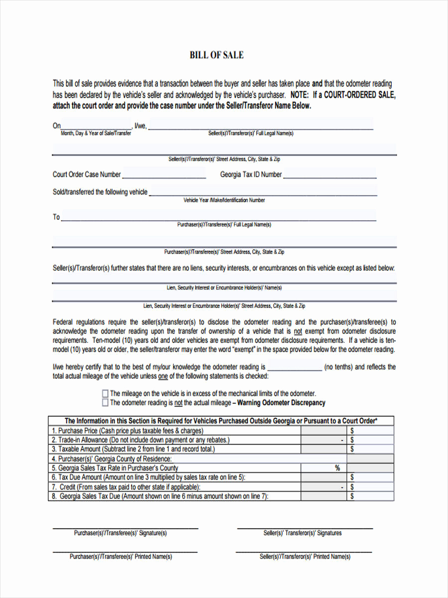 Standard Bill Of Sale Awesome 9 Car Bill Of Sale form Sample Free Sample Example