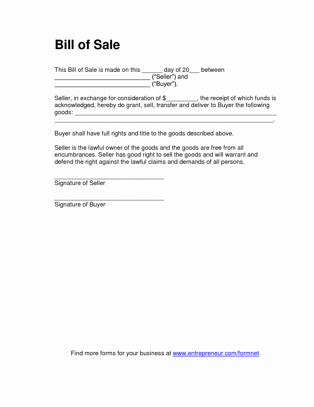 Standard Bill Of Sale Awesome Free Printable Bill Of Sale Templates form Generic