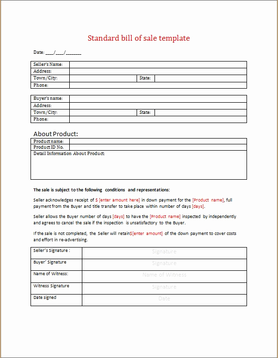 Standard Bill Of Sale Awesome Standard Bill Of Sale Word Template