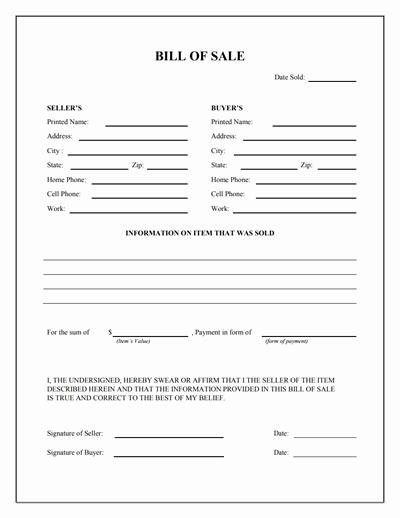 Standard Bill Of Sale Best Of General Bill Of Sale form Free Download Create Edit