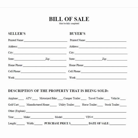 Standard Bill Of Sale Elegant Printable Car Bill Of Sale Pdf