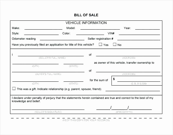 Standard Bill Of Sale Inspirational Bill Sale for Used Car Template Sales Receipt form