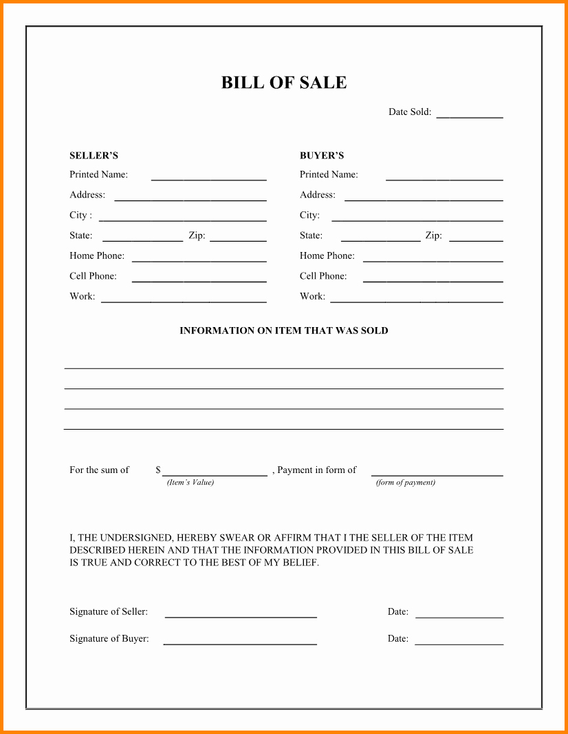 Standard Bill Of Sale Lovely 8 Free Printable Bill Of Sales