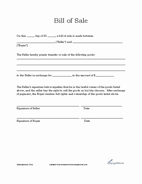 Standard Bill Of Sale Lovely Basic Bill Of Sale form Printable Blank form Template