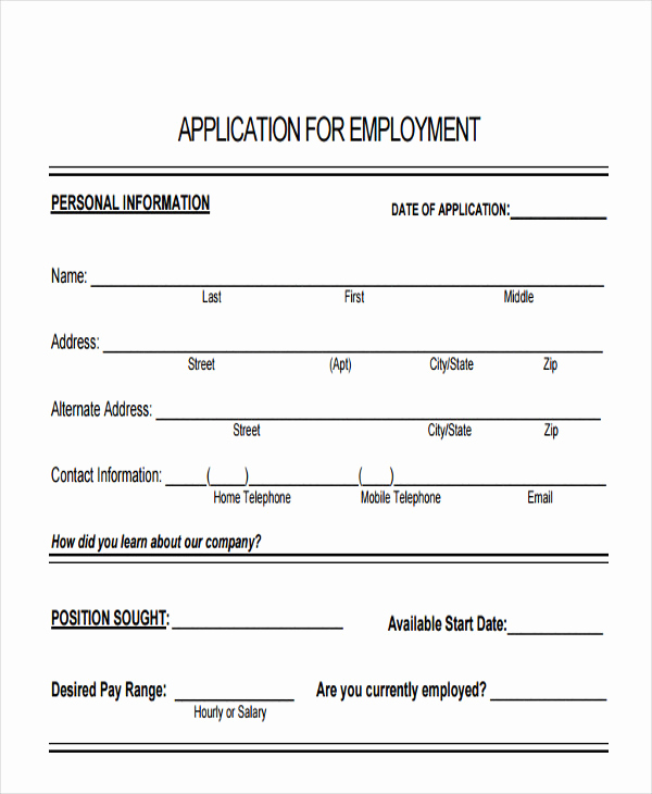 Standard Job Application form Inspirational 49 Job Application form Templates