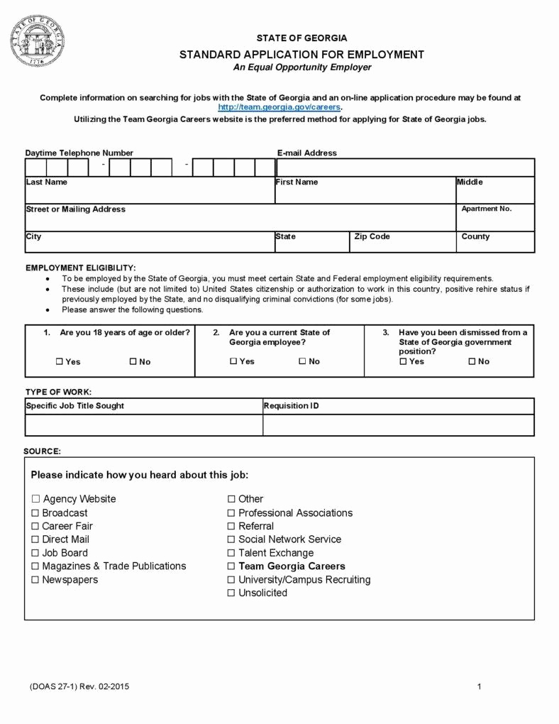 Standard Job Application form New 10 Employment Application form Free Samples Examples