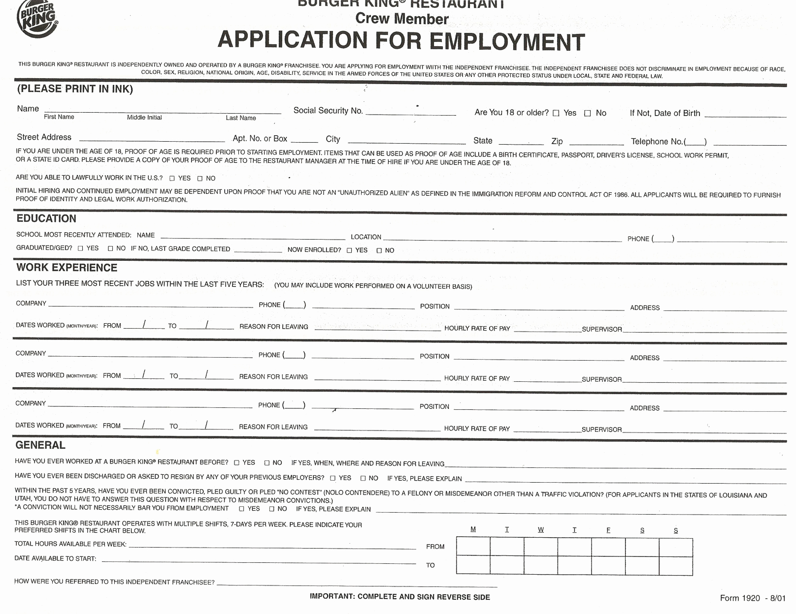 Standard Job Application form New Job Application forms to Print