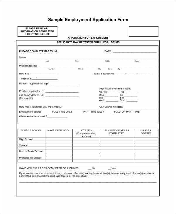 Standard Job Application form Unique Printable Application forms