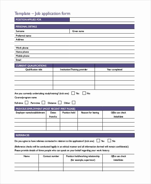 Standard Job Application format Best Of Basic Application forms