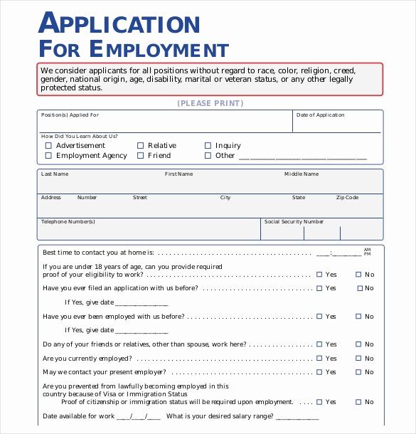 Standard Job Application format Elegant 15 Employment Application Templates – Free Sample