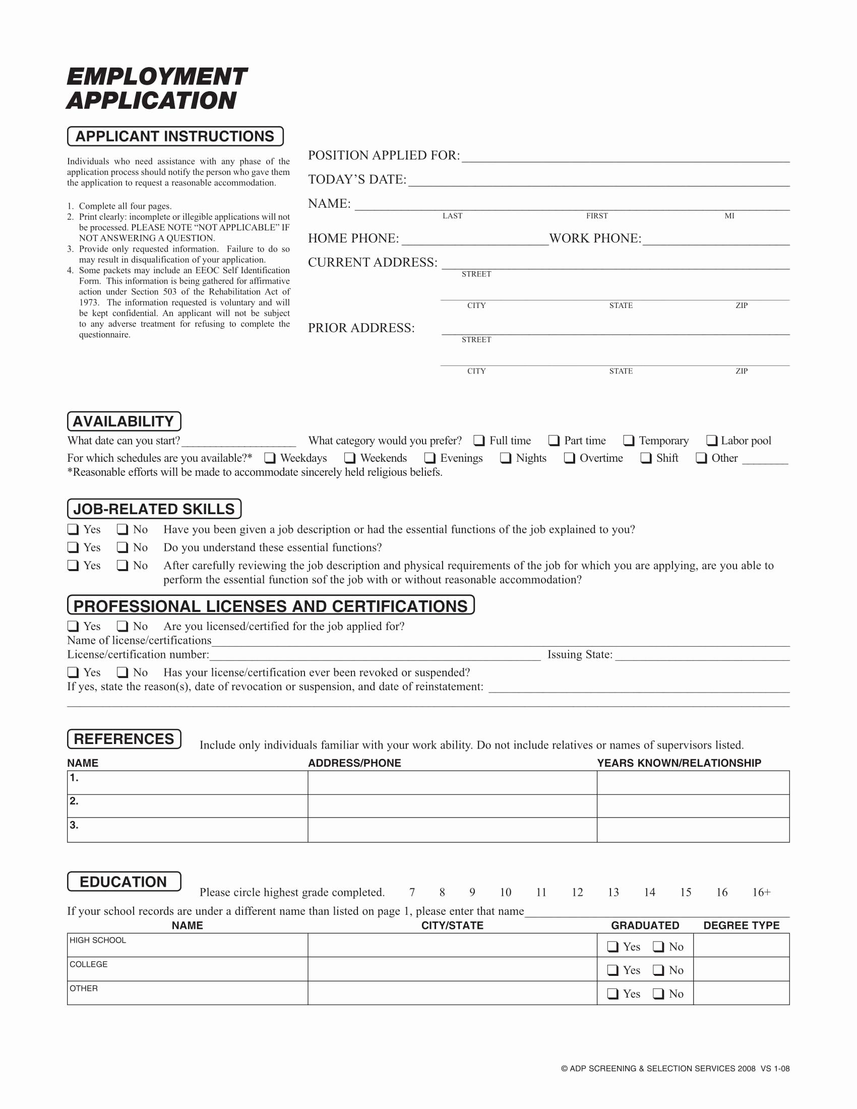 Standard Job Application format Lovely 20 Application form Samples for Job events Businesses