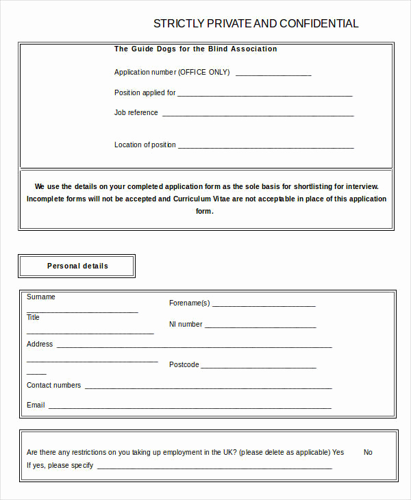 Standard Job Application forms Awesome Blank Job Application 8 Free Word Pdf Documents