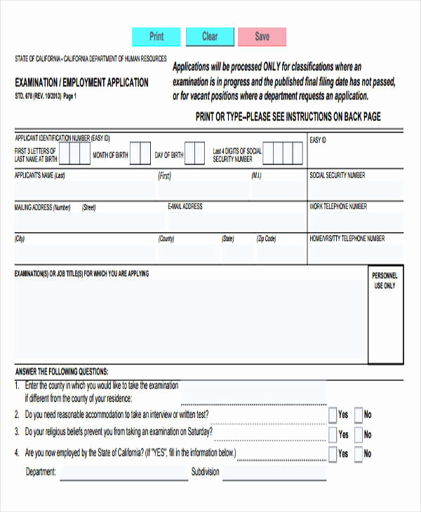 Standard Job Application forms Beautiful 49 Job Application form Templates