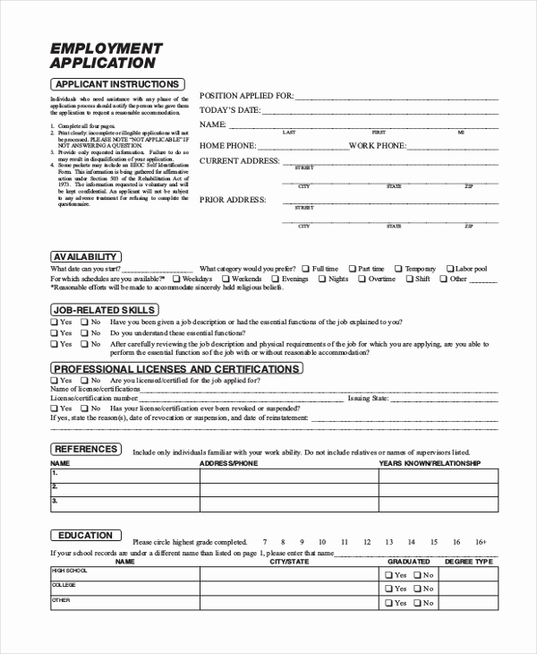 Standard Job Application forms Beautiful Sample Employment Application form 11 Free Documents In