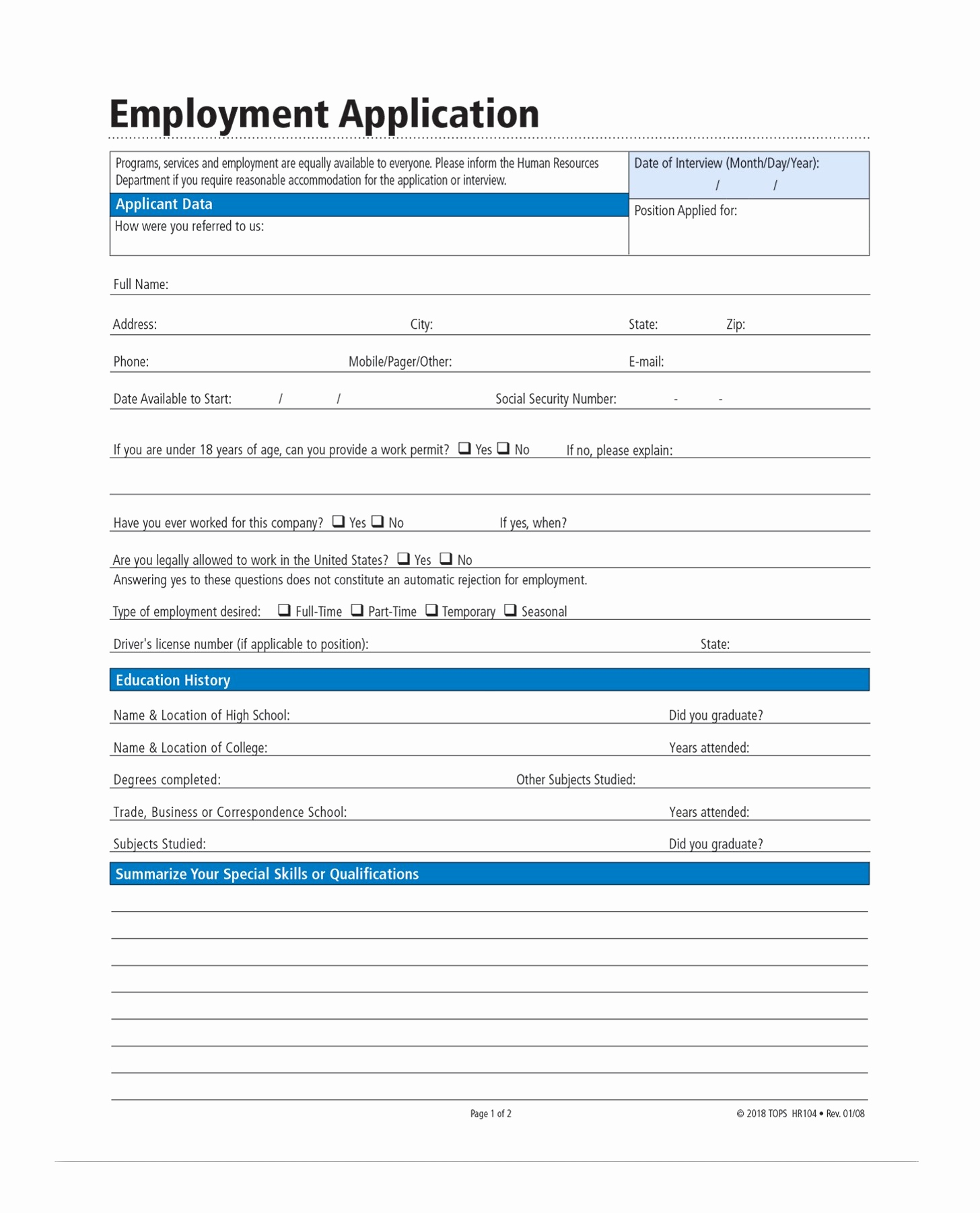 Standard Job Application forms Best Of Adams Application for Employment forms and Instructions