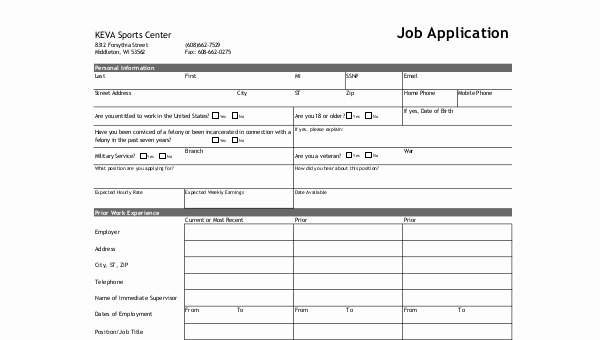 Standard Job Application forms Best Of Standard Job Application form Samples 8 Free Documents