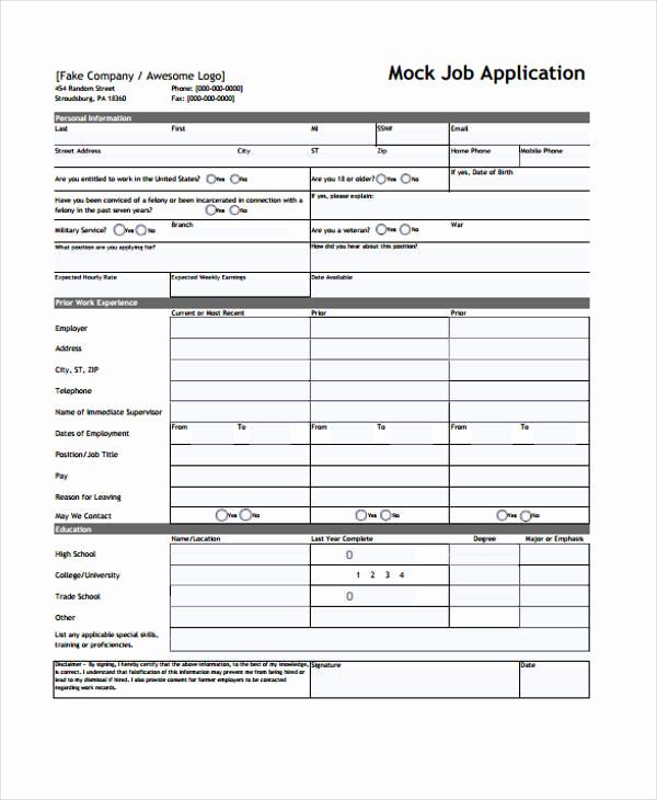 Standard Job Application forms Lovely 9 Sample Standard Job Application form Free Sample