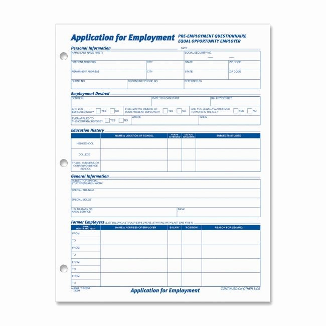 Standard Job Application forms Luxury 20 Best Images About Employment Applications On Pinterest