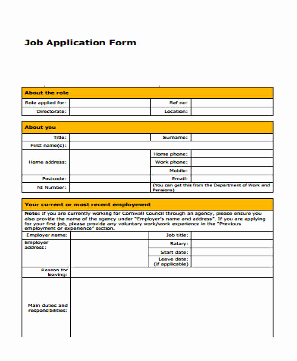 Standard Job Application forms Luxury 9 Job Application form Sample Free Sample Example
