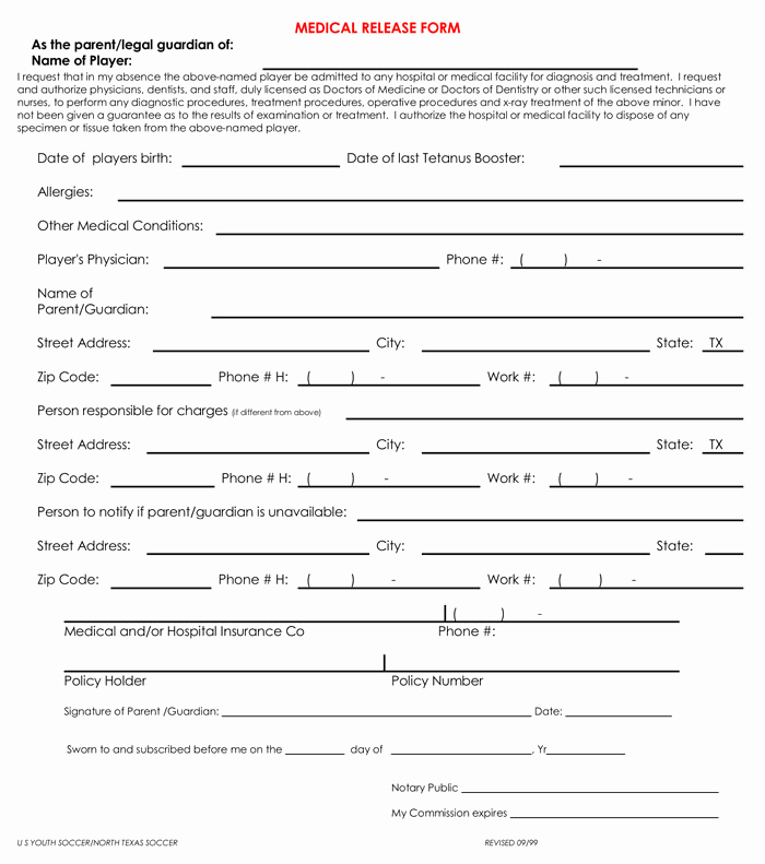 Standard Medical Records Release form Beautiful 20 Samples Of Medical Records Release & Authorization forms