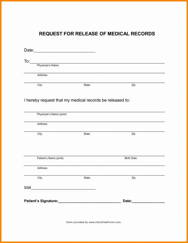 Standard Medical Records Release form Beautiful Blank Medical Records Release form Template