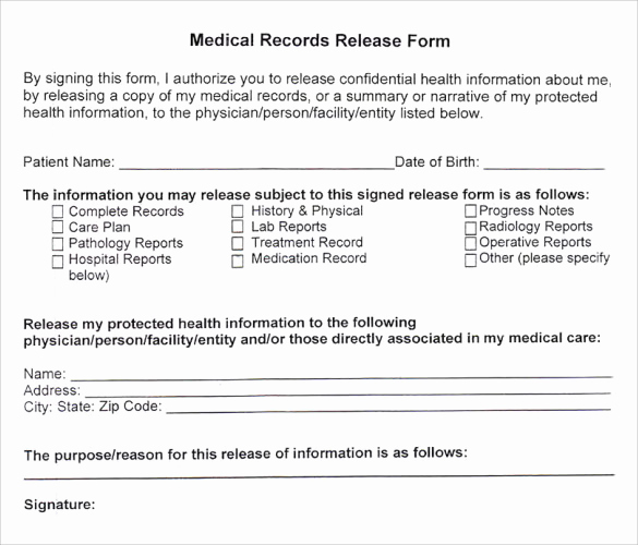 Standard Medical Records Release form Beautiful Medical Records Release form 10 Free Samples Examples