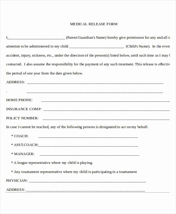 Standard Medical Records Release form Best Of Sample Release forms In Doc