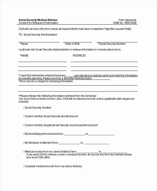 Standard Medical Records Release form Elegant 10 Medical Release forms Free Sample Example format