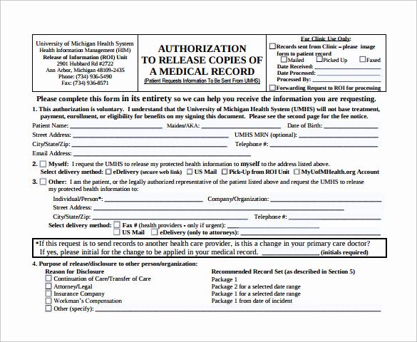 Standard Medical Records Release form Elegant Generic Medical Record Release form 10 Free Samples