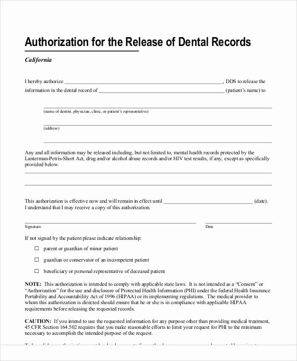 Standard Medical Records Release form Lovely 11 Sample Dental Release forms