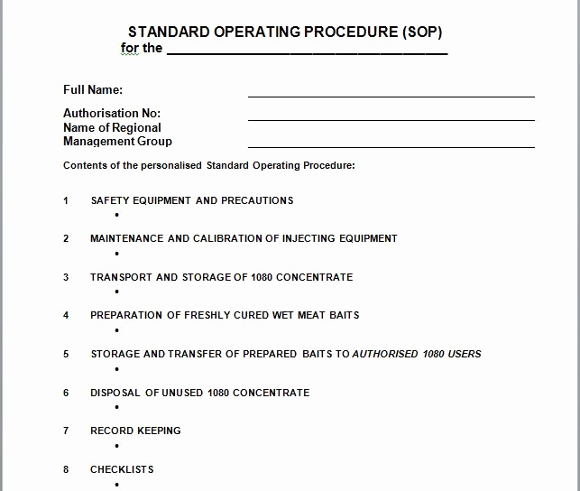 Standard Operating Procedure Example Fresh 37 Best Standard Operating Procedure sop Templates