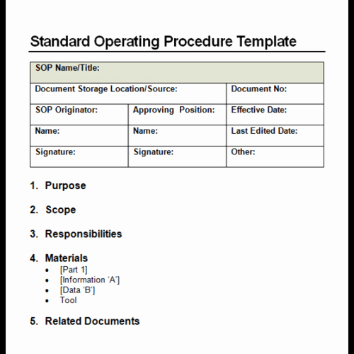 30 Standard Operating Procedure Example | Tate Publishing News