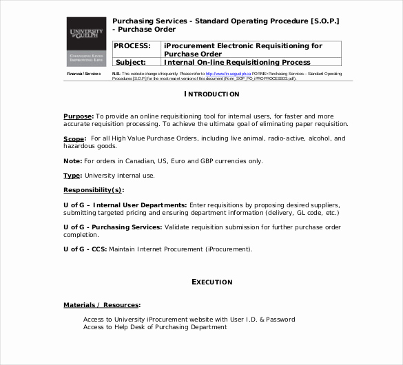 Standard Operating Procedure Example New 13 Standard Operating Procedure Templates Pdf Doc
