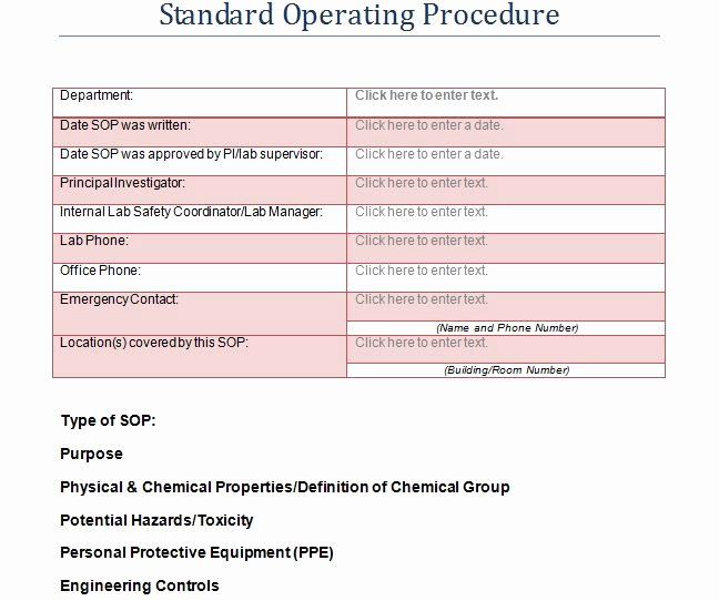 Standard Operating Procedure Examples Fresh 37 Best Standard Operating Procedure sop Templates