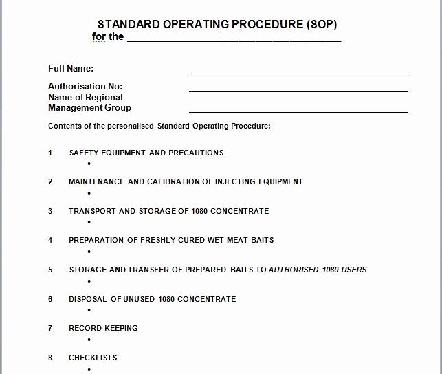 Standard Operating Procedures Template Beautiful 37 Best Standard Operating Procedure sop Templates