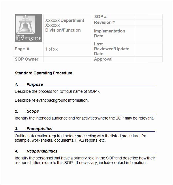 Standard Operating Procedures Template Lovely 22 Sample sop Templates Pdf Doc