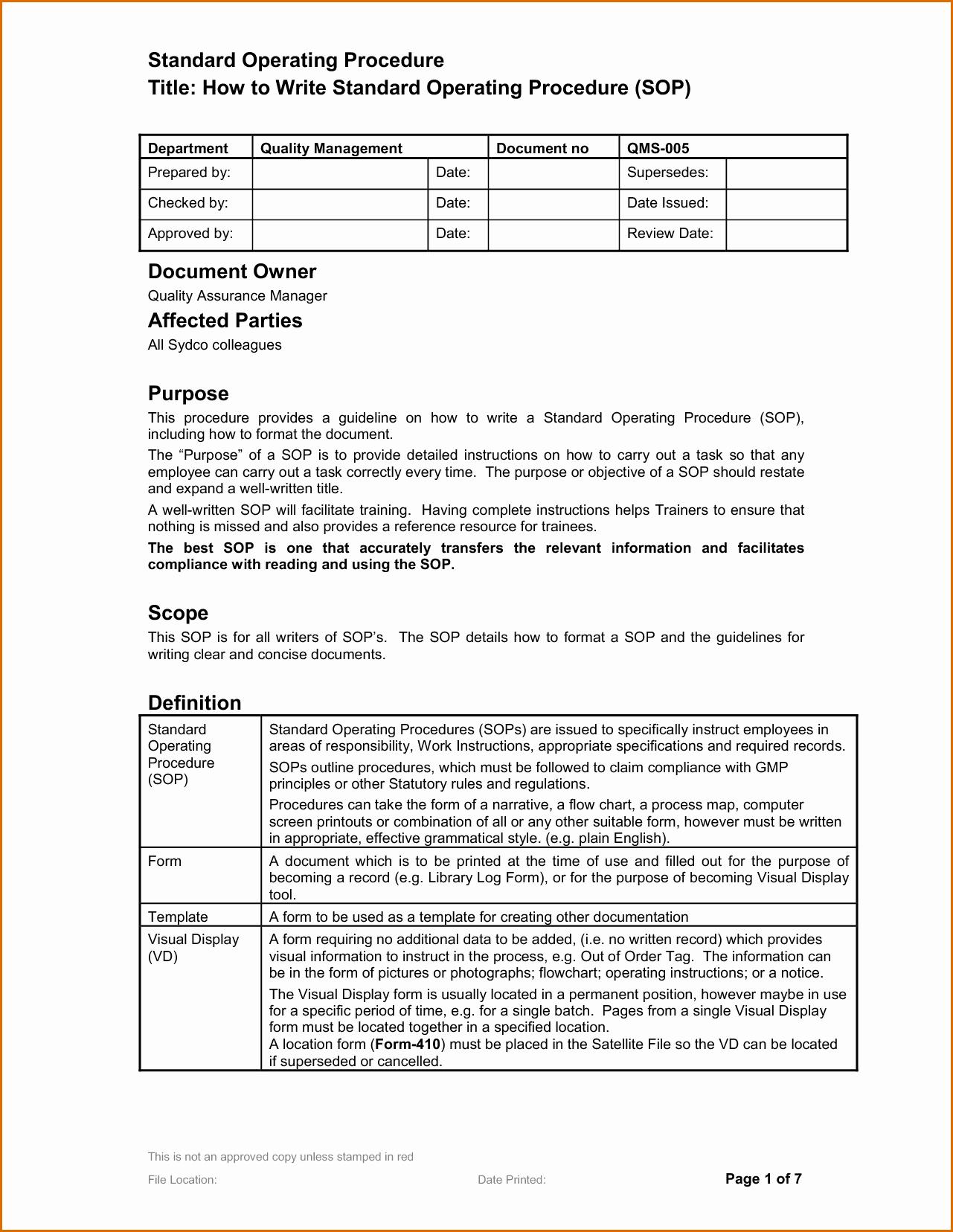 Standard Operating Procedures Template New 14 Standard Operating Procedures Templates