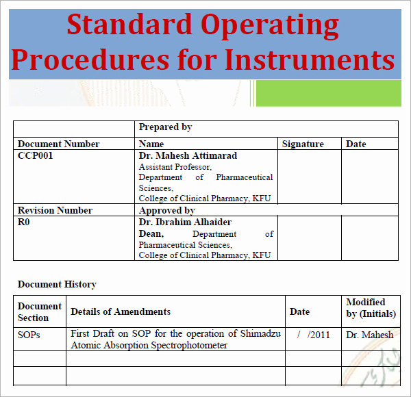 Standard Operation Procedure format Elegant Standard Operating Procedure Template Excel Pdf formats