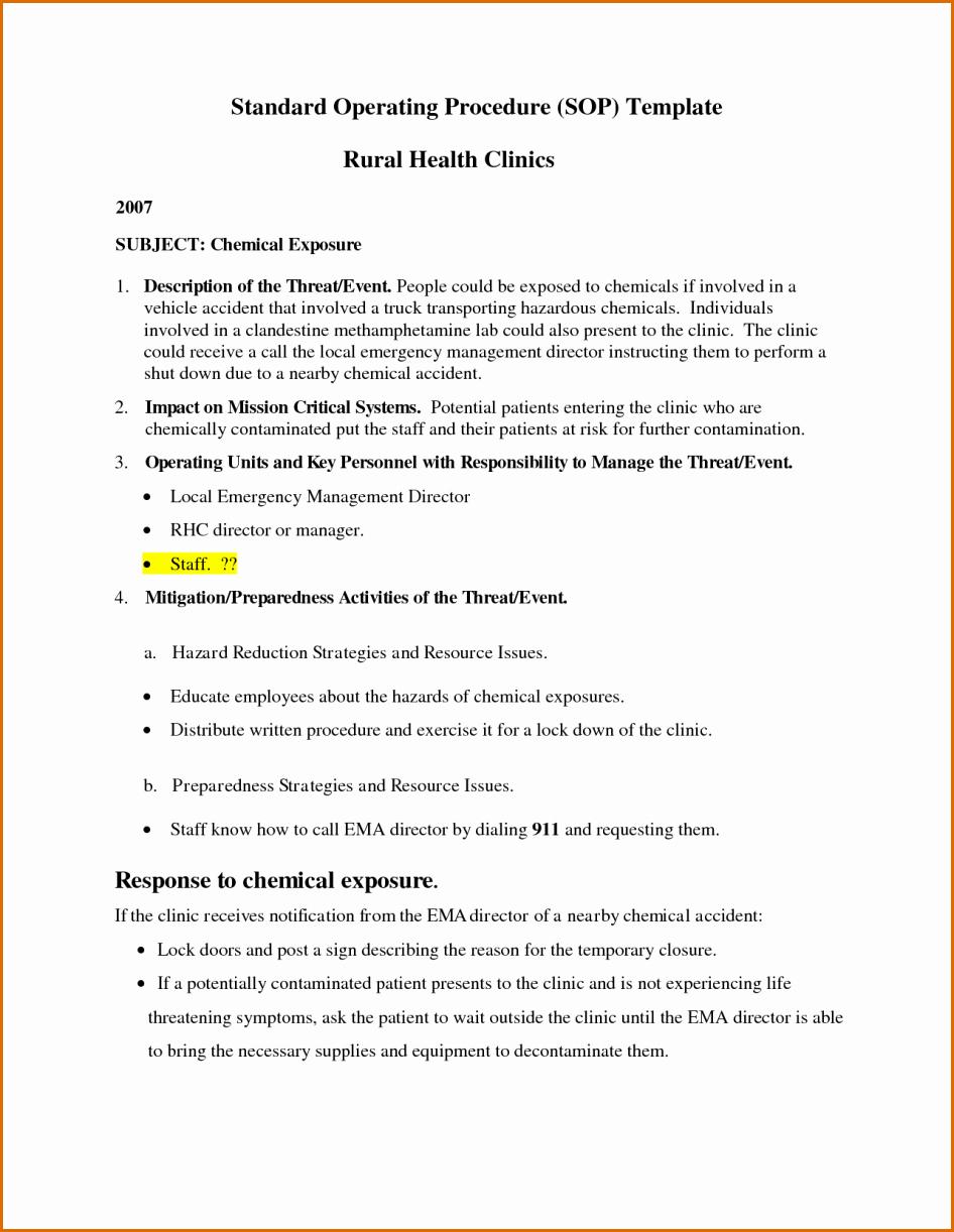 Standard Operation Procedure format Luxury 11 Standard Operating Procedure Template Word