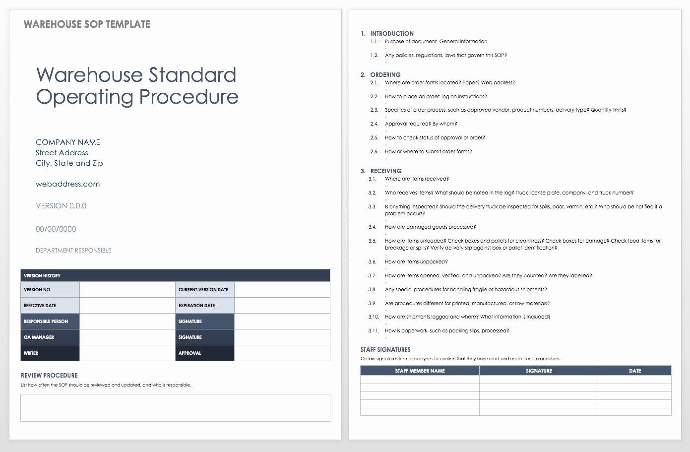 Standard Operation Procedure format Luxury Standard Operating Procedures Templates