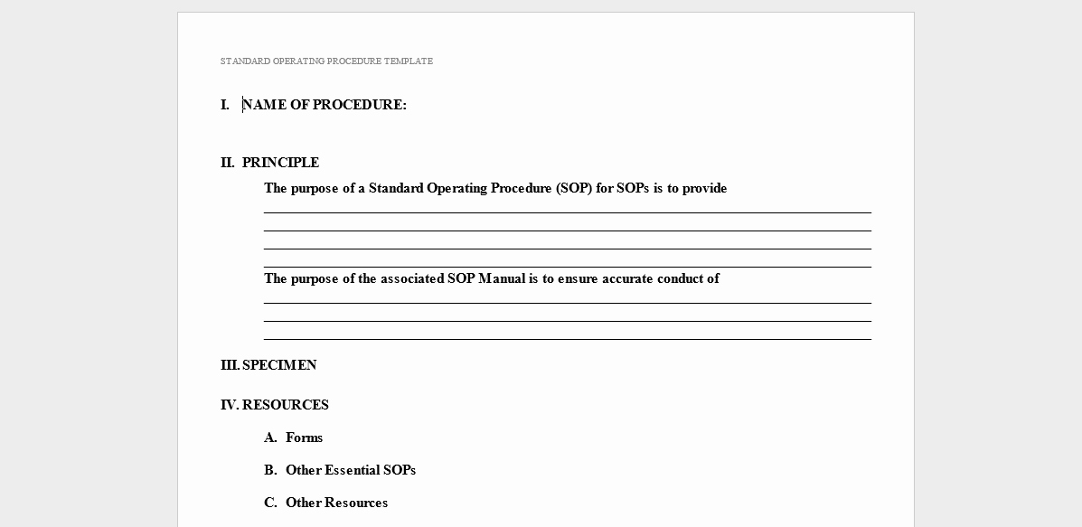Standard Operation Procedure format New 20 Free sop Templates to Make Recording Processes Quick